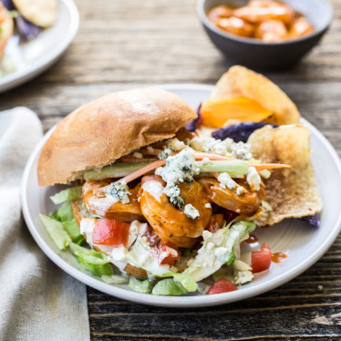 Grilled Buffalo Shrimp Sandwich with Buttermilk Blue® Dressing