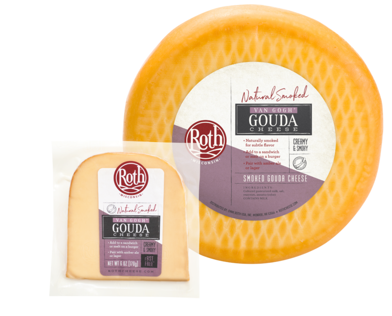 Roth Smoked Van Gogh Gouda cheese with wheel
