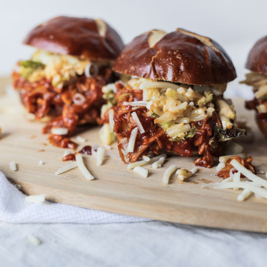 BBQ Turkey Sliders with Spicy Sprout Slaw