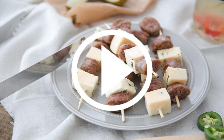 Horseradish Havarti brat skewers