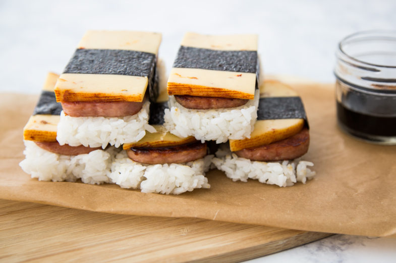 Spam musubi with a slice of 3 Chile Pepper Gouda
