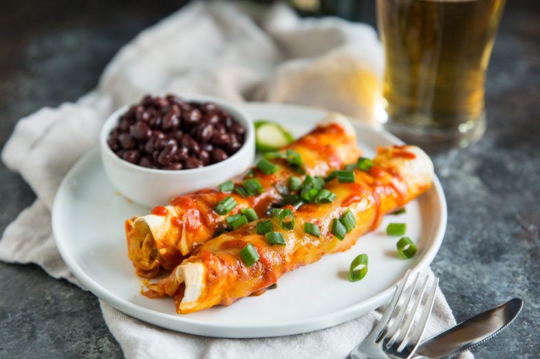 Easy Sriracha Chicken Enchiladas