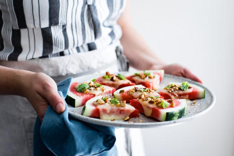 Charred Watermelon Cheese Wedges