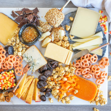 Candy and cheese pairings top view