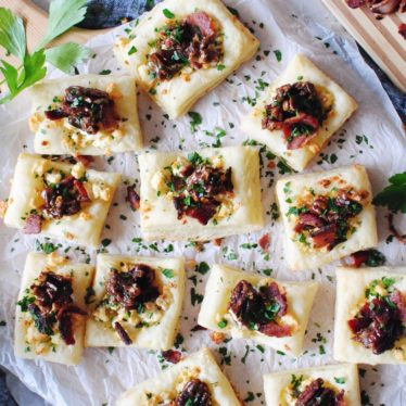Blue Cheese, Bacon and Candied Pecan Puff Pastry Bites