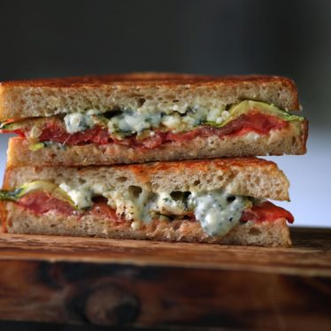 Buttermilk Blue Melt with Roasted Zucchini and Tomatoes