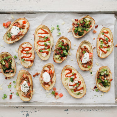 Cheesy Chorizo-Salsa Potato Skins