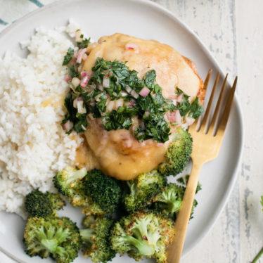 Crispy Gouda Chicken with Herb Salsa
