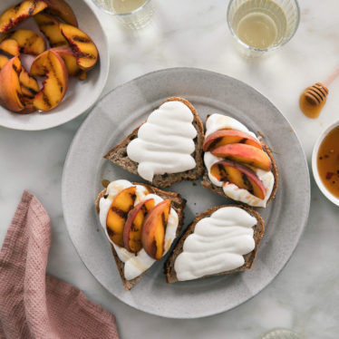 Whipped Goat Cheese with Grilled Peaches & Hot Honey