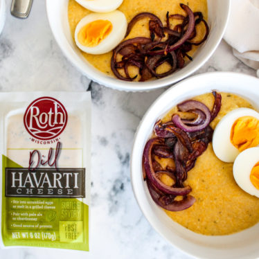 Cheesy Dill Grits with Blistered Onions & Jammy Eggs