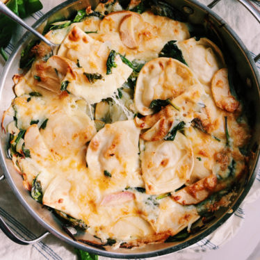 1-Pan Pierogi Bake with Caramelized Apples, Onions & Havarti