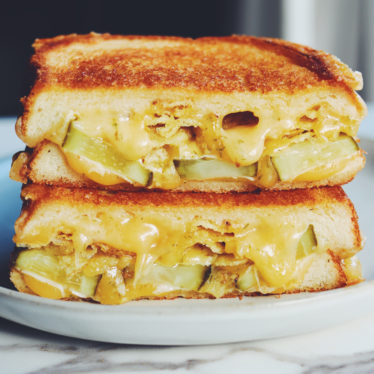 Pickle Grilled Cheese with Potato Chips