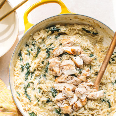 Cheesy Chicken Orzo with Kale