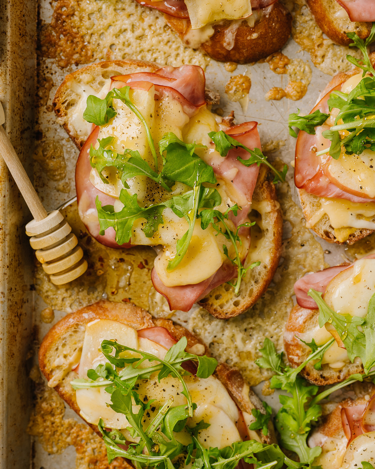 Open-Faced Honey Ham and Cheese