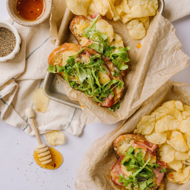 Open-Faced Hot Honey and Ham Grilled Cheese