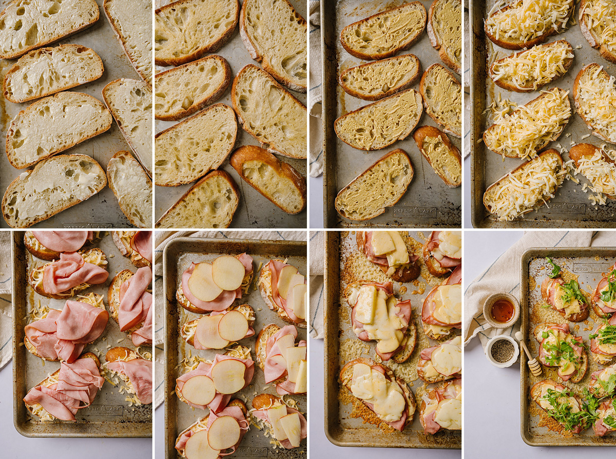 Open-Faced Hot Honey Ham and Cheese
