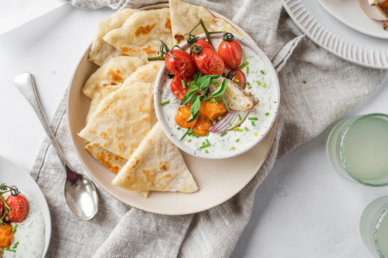 Whipped Goat Cheese with Roasted Tomatoes and Homemade Flatbreads