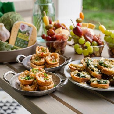 Three Spinach Artichoke Gouda Appetizers
